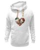 """Толстовка Wearcraft Premium унисекс """"Любить друг друга вечно"""" - сердце, цветы, черепа, акварель"""