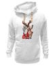 """Толстовка Wearcraft Premium унисекс """"Дед мороз с оленем"""" - праздник, новый год, радость, дед мороз, олень"""