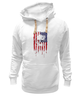 "Толстовка Wearcraft Premium унисекс ""Американский череп"" - skull, череп, америка, usa, флаг"