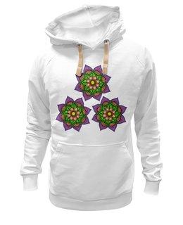 """Толстовка Wearcraft Premium унисекс """"Узор  неоновых мехенди """" - цветы, орнамент, этнический, индийский, мехенди"""