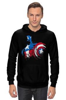 "Толстовка Wearcraft Premium унисекс ""Капитан Америка"" - супергерои, marvel, марвел, капитан америка, captain america"