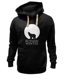 """Толстовка Wearcraft Premium унисекс """"Russian winter"""" - медведь, россия, луна, холод, русская зима"""