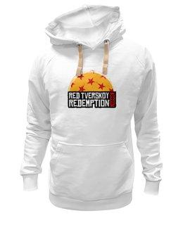 """Толстовка Wearcraft Premium унисекс """"Red Tverskoy Moscow Redemption"""" - надпись, москва, rockstar games, read dead redemption, тверской"""