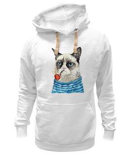 """Толстовка Wearcraft Premium унисекс """"Грустный Кот"""" - приколы, cat, котэ, трубка, grumpy, sailor, моряк"""