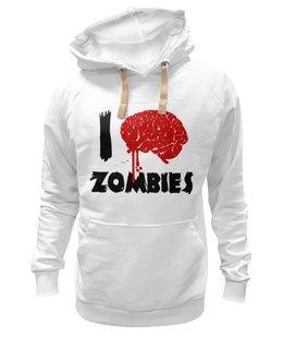 "Толстовка Wearcraft Premium унисекс ""I Love Zombies"" - любовь, прикол, супер, классно, love, zombie, зомби, стиль, мозги, brain"