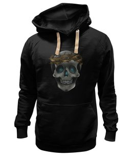 "Толстовка Wearcraft Premium унисекс ""skull in a crown of thorns"" - череп, цветы, черепа, дизайн, traditional"