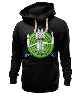 "Толстовка Wearcraft Premium унисекс ""Peace Among Worlds! Рик Санчез"" - мульт, rick and morty, рик и морти, looney tunes, прикольные"