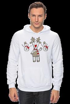 """Толстовка """"Веселый Рудольф."""" - арт, девушка, авторские майки, стиль, зима, рисунок, в подарок, оригинально, парню, олень"""