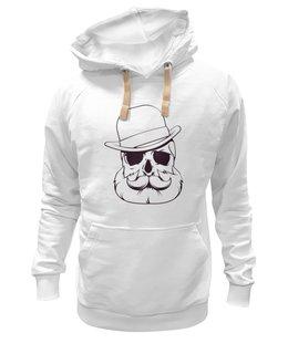 """Толстовка Wearcraft Premium унисекс """"Череп в шляпе"""" - рисунок, винтаж, шляпа, борода, усы"""