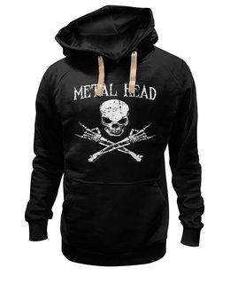 "Толстовка Wearcraft Premium унисекс ""Metal Head"" - череп, рок и метал"