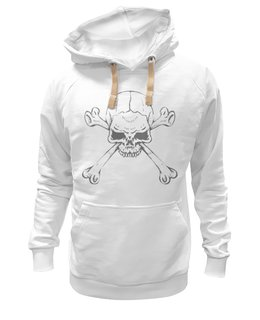 """Толстовка Wearcraft Premium унисекс """"Череп с костями"""" - череп, серый, белый, кости"""