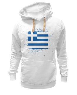 "Толстовка Wearcraft Premium унисекс ""Греческий флаг (гранж)"" - флаг, символика, греческий, греция, greek"