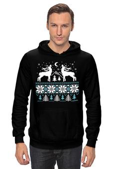 """Толстовка Wearcraft Premium унисекс """"Норвежский лес"""" - новый год, зима, снег, рождество, снежинки, паттерн, олени, deer, норвежский орнамент, уютный"""