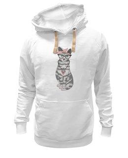 "Толстовка Wearcraft Premium унисекс ""Мяу мау мау"" - кот, арт, очки, cat"