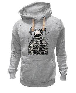 """Толстовка Wearcraft Premium унисекс """"Скелет с голубями на плечах"""" - skull, череп, арт, скелет, прикольные, оригинально, черно-белый, голуби"""