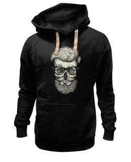 "Толстовка Wearcraft Premium унисекс ""Череп Хипстера"" - skull, череп, хипстер, усы"