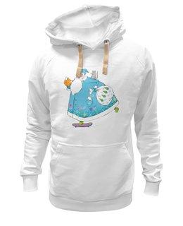 "Толстовка Wearcraft Premium унисекс ""Дед Мороз на скейте"" - happy new year, новый год, winter, зима, дом, семья, снег, барашек, баран, подарки"