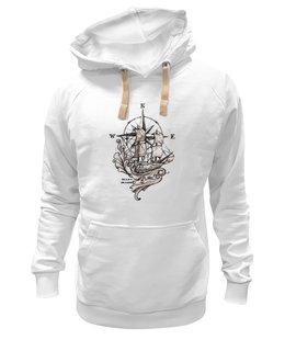 """Толстовка Wearcraft Premium унисекс """"Mary Makes """" - авторские майки, оригинально, футболка мужская, корабль, роза ветров, под парусом, морская"""