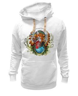 """Толстовка Wearcraft Premium унисекс """"Лиса Рождественская"""" - арт, стиль, креативно, fox, лиса"""