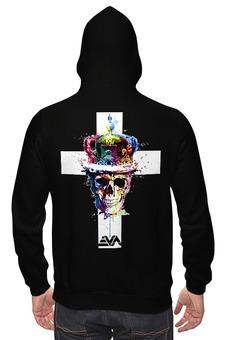 "Толстовка Wearcraft Premium унисекс ""Long live the king"" - skull, череп, арт, корона, крест"