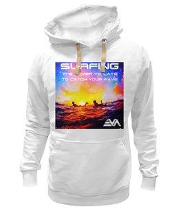 "Толстовка Wearcraft Premium унисекс ""Серфинг на закате"" - океан, surfing, wave, серфинг, закат"