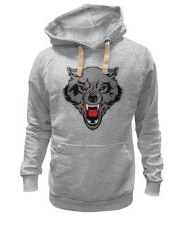 """Толстовка Wearcraft Premium унисекс """"Оскал волка"""" - волк, клыки"""