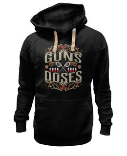 "Толстовка Wearcraft Premium унисекс ""Guns n Roses"" - прикол, пистолет, медицина, цветы, таблетки"