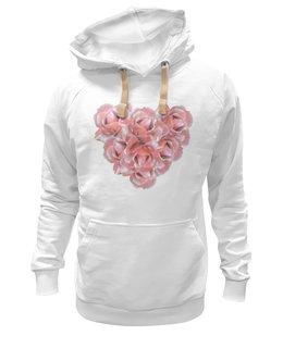 """Толстовка Wearcraft Premium унисекс """"Розовые розы """" - сердце, цветы, розы, букет, розовые цветы"""