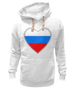 "Толстовка Wearcraft Premium унисекс ""Сердце - российский триколор"" - сердце, любовь, россия, символ, триколор"
