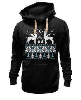 """Толстовка Wearcraft Premium унисекс """"Норвежский лес"""" - новый год, зима, снег, рождество, снежинки, паттерн, олени, норвежский орнамент, уютный, вязаный"""