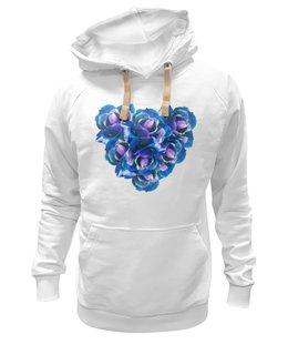 """Толстовка Wearcraft Premium унисекс """"Роскошное сердце """" - сердце, цветы, розы, букет, синие цветы"""