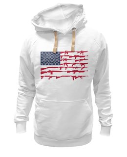 "Толстовка Wearcraft Premium унисекс ""Америка."" - лицо, политика, флаг, сша, оружие"