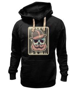 "Толстовка Wearcraft Premium унисекс ""Бородатый череп"" - череп, винтаж, шляпа, борода, усы"