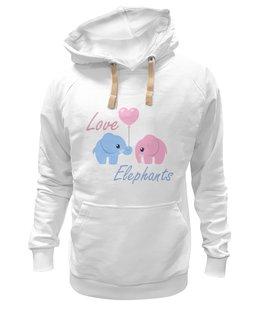 "Толстовка Wearcraft Premium унисекс ""Love Elephants"" - арт, рисунок"