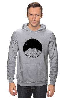 """Толстовка """"Эльбрус"""" - кавказ, горы, иллюстрация, чернобелый, альпинизм"""