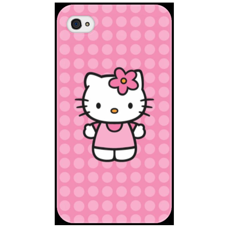 Чехол для iPhone 4/4S Printio Kitty в горошек apple чехол iphone6 5s 4s 5c hello kitty