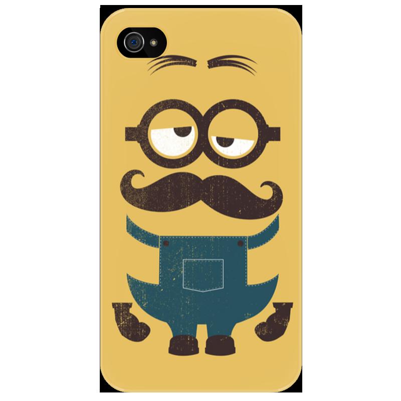 Чехол для iPhone 4/4S Printio Миньон с усами чехол для карточек фламинго и ананас с усами дк2017 101