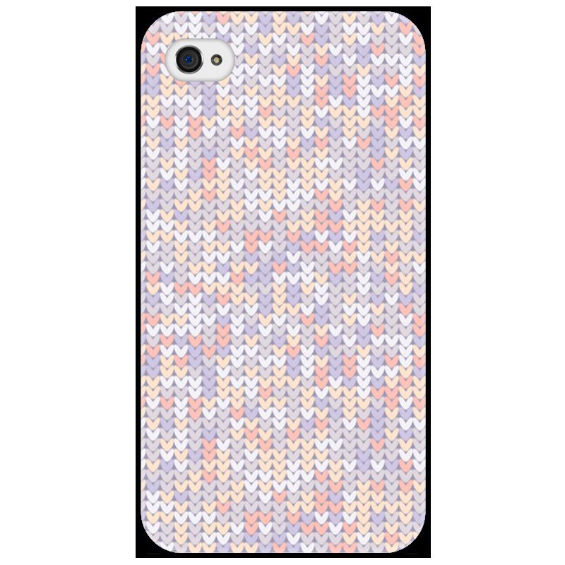 Чехол для iPhone 4/4S Printio Сиреневый вязаный узор
