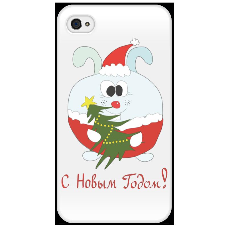 Чехол для iPhone 4/4S Printio Новогодний заяц айфон 4s 8 гб дешево в москве белый