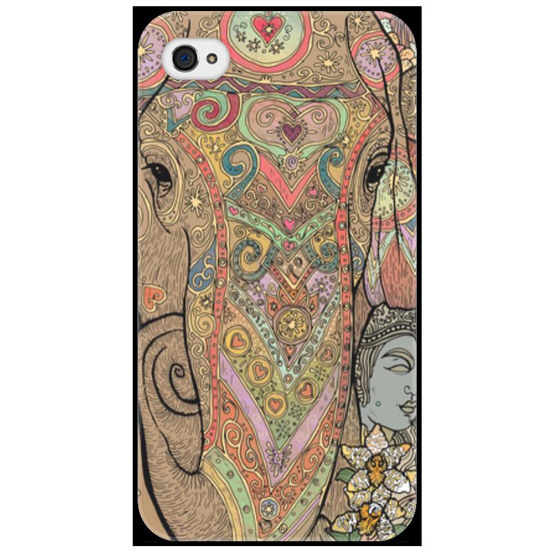 Чехол для iPhone 4/4S Printio Слон нарядный расписной айфон 4s 8 гб дешево в москве белый