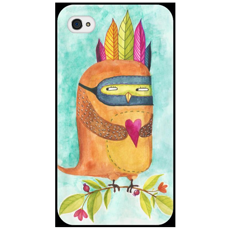 Чехол для iPhone 4/4S Printio Рыжая сова индеец