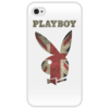 """Чехол для iPhone 4/4S """"Playboy Британский флаг"""" - playboy, плейбой, плэйбой, великобритания, зайчик"""