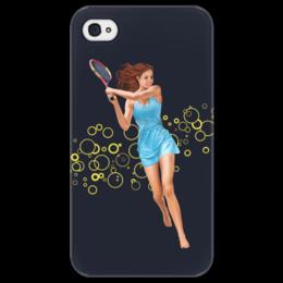 """Чехол для iPhone 4/4S """"Девушка с теннисной ракеткой"""" - девушка, спорт, рисунок, теннис, ракетка"""