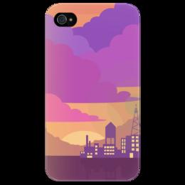 """Чехол для iPhone 4/4S """"Night Vale"""" - город, оригинально, облака, розовый, пейзаж, радио, чехол, radio, welcome to night vale, добро пожаловать в найт вейл"""