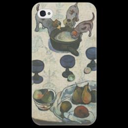 "Чехол для iPhone 4/4S ""Натюрморт с тремя щенками"" - картина, поль гоген"