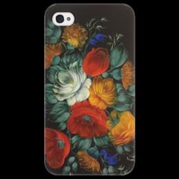 """Чехол для iPhone 4/4S """"Цветы на черном фоне """" - цветы, ретро, винтаж, цветочный принт"""