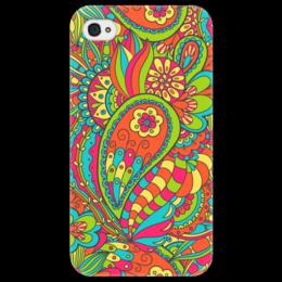"""Чехол для iPhone 4/4S """"Цветочный дудл"""" - арт, цветы, узор, дудл"""