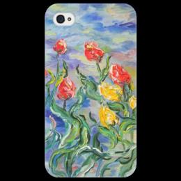 "Чехол для iPhone 4/4S ""Тюльпаны"" - весна, красота, небо"