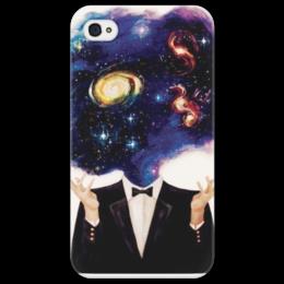 """Чехол для iPhone 4/4S """"Космос в моей голове"""" - космос, галактика, мир вокруг нас, человеческий мозг, безграничность"""