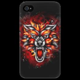 """Чехол для iPhone 4/4S """"Wolf & Fire"""" - огонь, волк, fire, дым, wolf"""